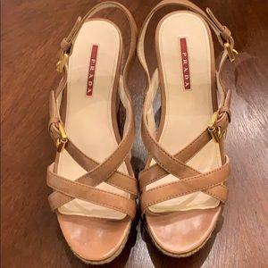 Prada Leather Espadrille Wedge Sandal